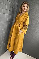 Женское летнее льняное оранжевое платье Pavlova 112 42р.