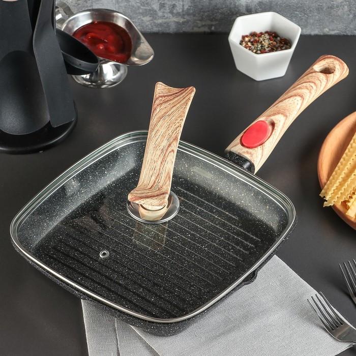 Сковорода-гриль литая «Гранит», 24×3,5 см, стеклянная крышка, съёмная ручка, индукция