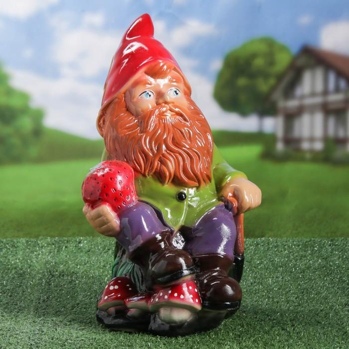 """Садовая фигура """"Гном с клубникой"""", глянец, разноцветный, 41 см, микс"""