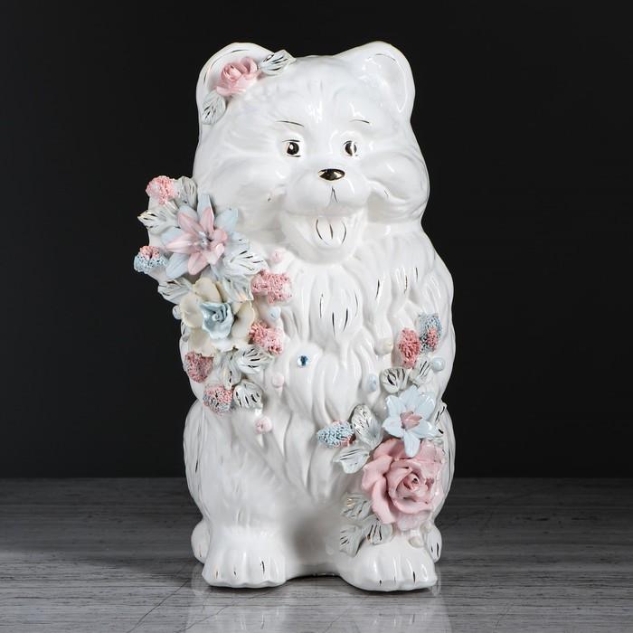 """Копилка """"Собака Шпиц"""", глазурь, белый цвет, 31 см"""