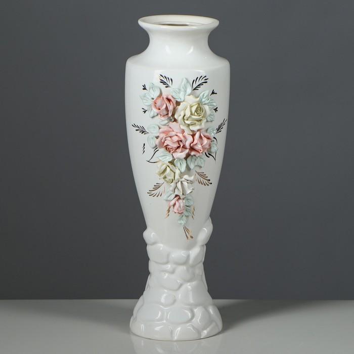 "Ваза настольная ""Амфора"", лепка, белая, 39 см, керамика"