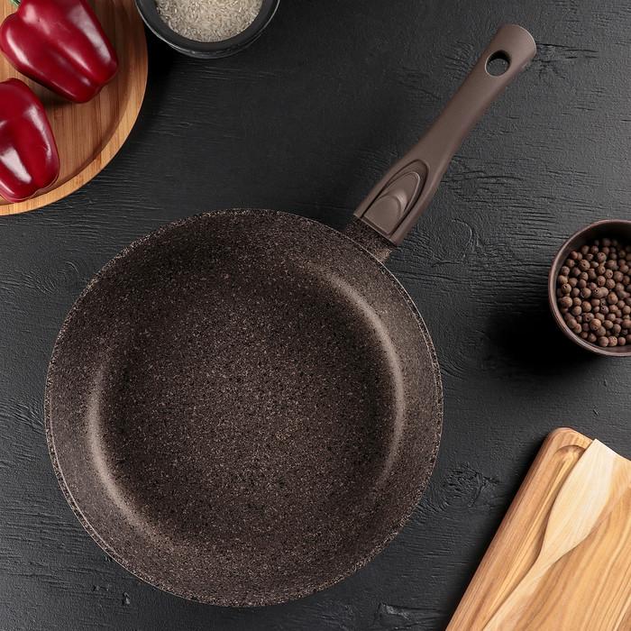 Сковорода 28 см, индукция, съёмная ручка, цвет коричневый