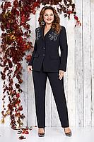 Женский осенний черный деловой нарядный деловой костюм Takka Plus 19С052 50р.