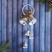 """Украшение новогоднее """"Колокольчик"""" шишка и ягоды в снегу, 11х30 см"""