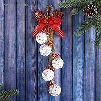 """Украшение новогоднее """"Шарики на бантике - волшебный перелив"""" 4х25 см белый"""