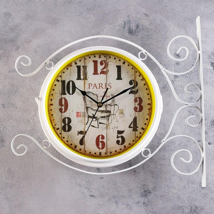"""Часы настенные двойные, серия: Садовые, """"Плезанс"""", белые  d=24 см, 38х42 см"""