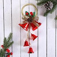 """Украшение новогоднее """"Колокольчик"""" золотое кольцо и ягодки, 11х28 см"""