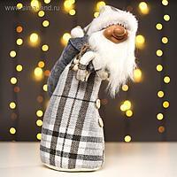 "Кукла интерьерная ""Дедушка мороз в клетчатом кафтане"" 44х20х20 см"