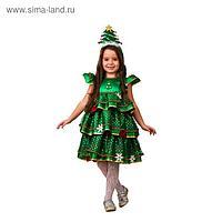 Карнавальный костюм «Ёлочка-малышка», сатин, платье, ободок, р. 28, рост 110 см