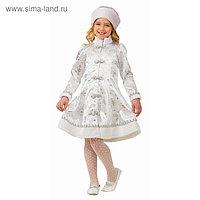 Карнавальный костюм «Снегурочка», сатин, платье, головной убор, р. 30, рост 116 см
