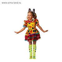 Карнавальный костюм «Хлопушка», сатин, платье, ободок, размер 30, рост 116 см