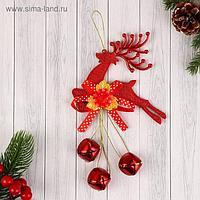 """Украшение новогоднее """"Олень"""" цветок и шары, 9х19 см, красный"""