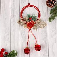 """Украшение новогоднее """"Зимний цветок"""" кольцо и шарики, 8х24 см"""