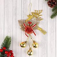 """Украшение новогоднее """"Олень"""" цветок и шары диско, 12х20 см, золото"""