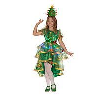 Карнавальный костюм «Ёлочка лучистая», платье, головной убор, р. 34, рост 134 см