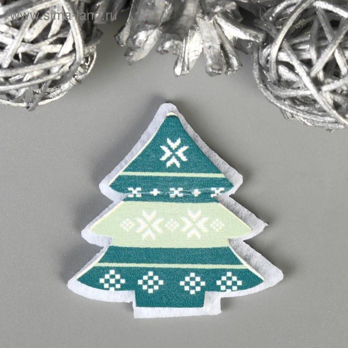 """Декор для творчества дерево, войлок """"Новогодний"""" набор 6 шт 4,2х4,2 см - фото 2"""