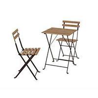Набор садовой мебели, 3 предмета стол, 2 стула, черный / светло-коричневая морилка