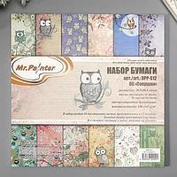 "Набор бумаги для скрапбукинга ""Совушки"" (36 листов) 30.5x30.5 см, 220 гр/м2"
