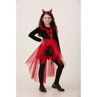 Карнавальный костюм 'Дьяволица', платье, ободок с рожками, сумочка, р. 32, рост 128 см