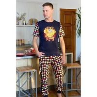Костюм мужской (футболка, брюки), цвет синий, размер 52