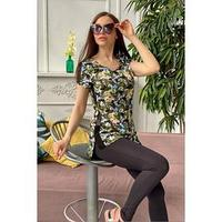 Костюм женский (футболка, лосины), цвет листья, размер 48