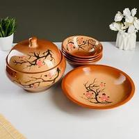 Набор посуды 'Деревенский' 6 предметов супница, блюдо, 4 миски, с рописью, сакура