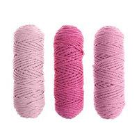 Шнур для вязания 3мм 100 хлопок, 50м/85гр, набор 3шт (Комплект 8)