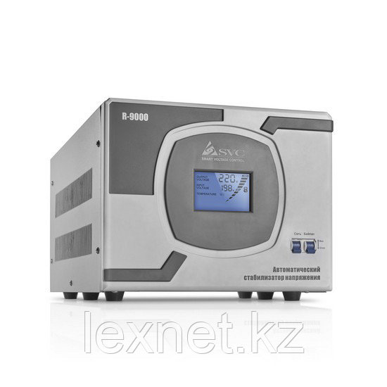 Стабилизатор (AVR), SVC, R-12000, Мощность 12кВА/10кВт, LCD-дисплей, Диапазон работы AVR: 110-275В, Клеммная к