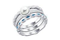 """Кольцо с жемчугом """" Неделька из трёх"""" /серебро - 17 размер"""