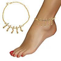 Браслет на ногу с кристаллами и подвесками Anklets золотистый