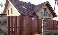 Раздвижные ворота, двусторонний евроштакетник, заборы, ворота