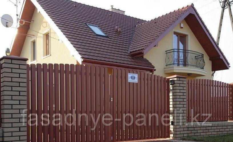 Раздвижные ворота, двусторонний евроштакетник, заборы, ворота - фото 1