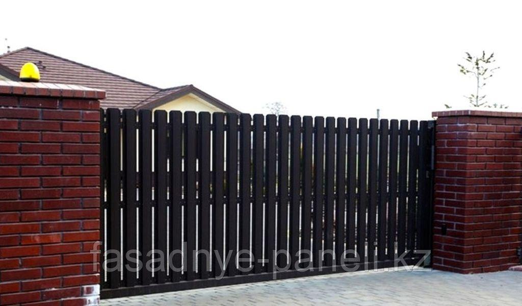 Раздвижные ворота, двусторонний евроштакетник, заборы, ворота - фото 3