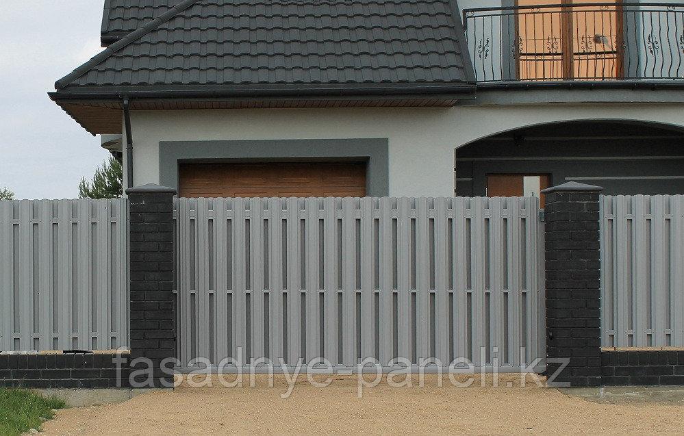 Раздвижные ворота, двусторонний евроштакетник, заборы, ворота - фото 2