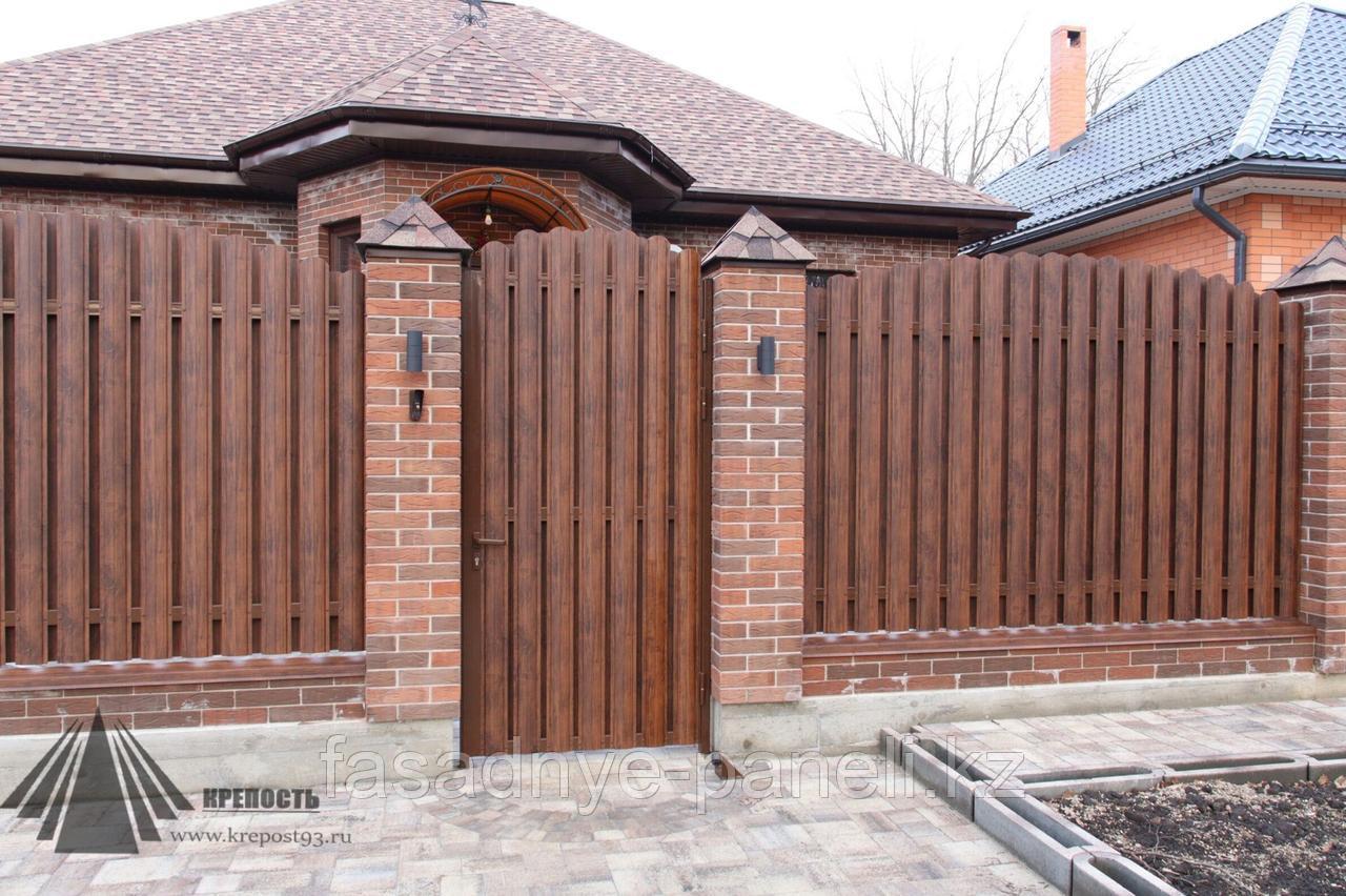 Раздвижные ворота, двусторонний евроштакетник, заборы, ворота - фото 4