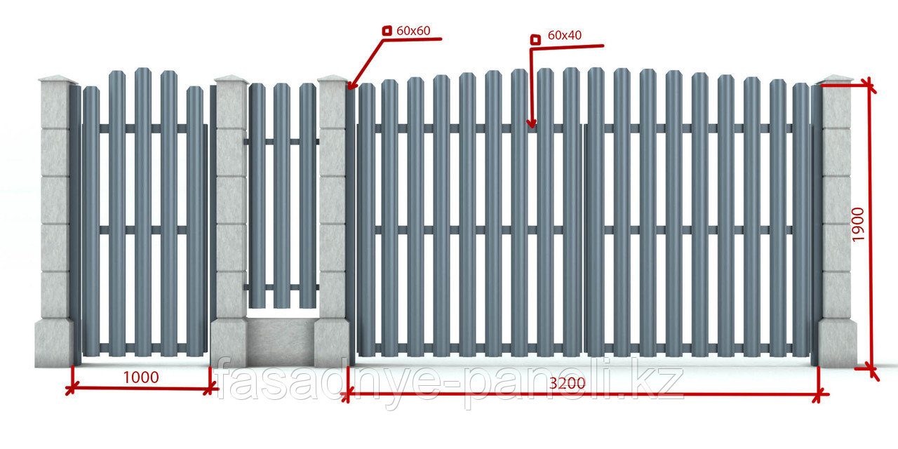 Раздвижные ворота, двусторонний евроштакетник, заборы, ворота - фото 5