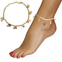 Браслет на ногу с кристаллами и подвесками в виде цветов Anklets золотистый