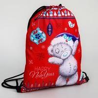 Мешок для подарков новогодний 'Мишка', 21 x 0,5 x 29 см, отдел на шнурке