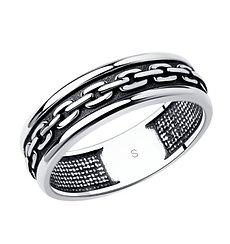 Кольцо  мужское / чёрное серебро - 22,5 размер