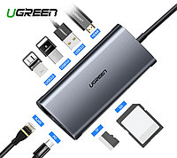 Адаптер Ugreen USB-C 8 в 1 RJ45 HDMI SD USB 3.0 gray