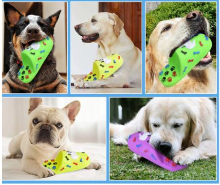 """Игрушка для собак с пищалкой """"Тапка"""" синяя - фото 1"""