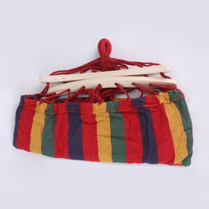 Гамак подвесной складной с деревянными планками одноместный 165х80 в красных оттенках - фото 3