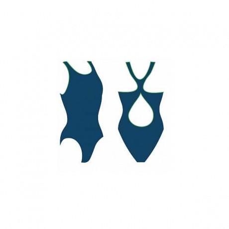 Купальник женский для бассейна, однотон.с кантом, р-р. 42 т.син/салат, SW 2 2 (50)
