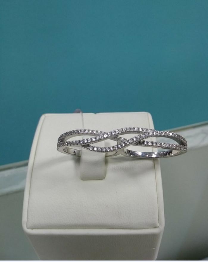 Кольцо с цирконом на два пальца / серебро