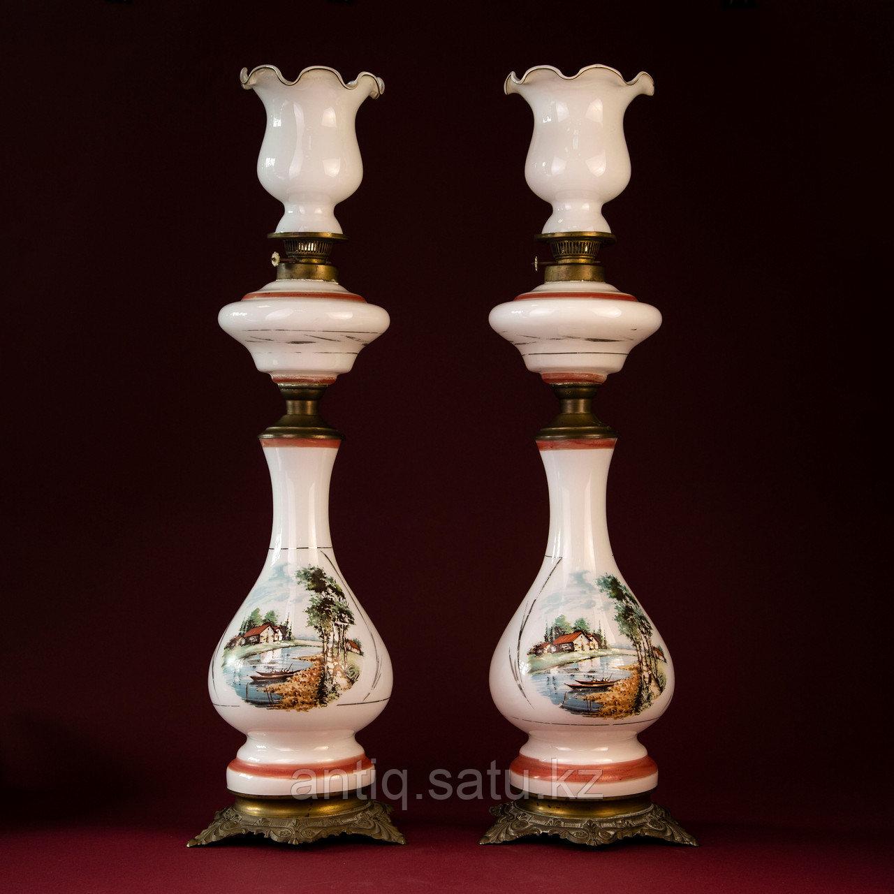 Парные керосиновые лампы с пейзажами Западная Европа. Конец XIX начало ХХ века - фото 1