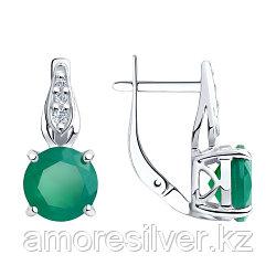 """Серьги SOKOLOV серебро с родием, агат зеленый фианит, с английским замком, """"halo"""" 94-320-00408-1"""