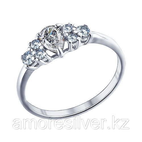 Кольцо SOKOLOV серебро с родием, фианит  94011290 размеры - 15 15,5 16 16,5 17 17,5 18