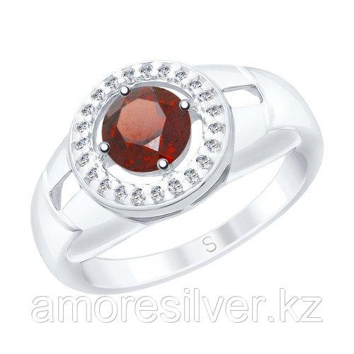 Кольцо SOKOLOV серебро с родием, гранат фианит  92011542 размеры - 16