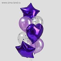 Букет из шаров «Фиолетовый», сердце, звезда, фольга, латекс, набор 10 шт.