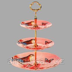 Ваза для фруктов Bekker розовая с птицами